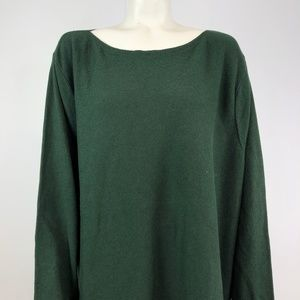J.Jill 4X Oversized  Pullover Crew Sweater Green